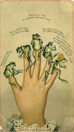Frog fingers & Moors Love this one! A froggy version of This Little Piggy . Frosch Illustration, Illustration Art, Vintage Cards, Vintage Images, Plakat Design, Kids Poems, Frog Art, Frog And Toad, Nursery Rhymes