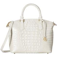 Brahmin Duxbury Satchel (Pearl) Satchel Handbags ($275) ❤ liked on Polyvore featuring bags, handbags, dome satchel purse, zipper handbag, shoulder strap purses, zipper purse and handbag satchel