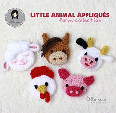 Little Animal Appliqués: Farm Collection Crochet Pattern ~ Lamb, Horse, Cow, Chicken and Pig Embellishments Motifs D'appliques, Crochet Motifs, Crochet Patterns, Crochet Appliques, Knitting Patterns, Crochet Amigurumi, Crochet Toys, Knit Crochet, Manta Animal