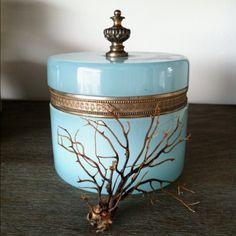 vintage glass box ~ aqua