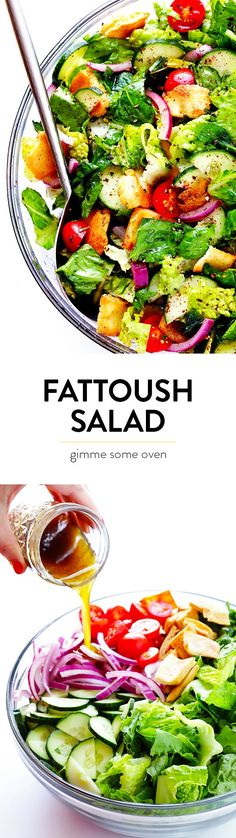This classic Fattoush Salad recipe is quick and easy to make, and made with a zesty lemon dressing. | http://gimmesomeoven.com