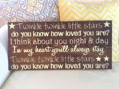"Handpainted wood stained nursery ""Twinkle Twinkle Little Star"" or ""Stars"" sign by ChicRusticSigns on Etsy https://www.etsy.com/listing/182224541/handpainted-wood-stained-nursery-twinkle"