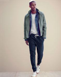 FEB '15 Style Guide: J.Crew men's nylon windbreaker, denim jacket in rinse wash…