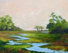 Modern Impressionist Original Oil Landscape Painting of Marsh Lowcountry South Carolina by Rebecca Croft by rebeccacroftstudios on Etsy