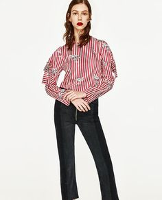 ZARA - WOMAN - PRINTED TOP WITH BOW SLEEVES