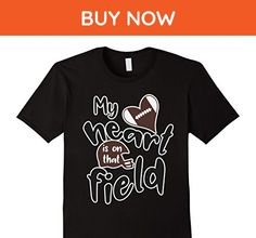 Mens My Heart Is On That Field Football Mama T Shirt  Medium Black - Relatives and family shirts (*Amazon Partner-Link)