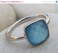 SALE Blue Chalcedony Ring Blue Topaz Ring Stone Ring by Belesas