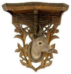 Antique Black Forest Carved Deer Shelf
