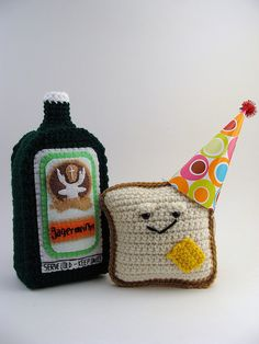 A drunk Mr. Toastee and his plush bottle of Jagermeister by Yummy Pancake, via Flickr