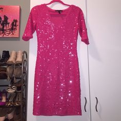 BCBG Hot Pink Sequin Cocktail Dress This dress is amazing! Stretchy, comfortable, full sequins. V neck. Fully lined. 3/4 sleeves. Worn once. Originally $398 BCBG Dresses Mini