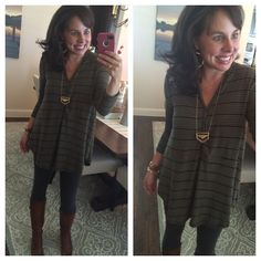 Fall Leggings Outfit:  my MUST HAVE leggings, a great striped (and hooded tunic), cognac boots, and gold jewelry!  LOVE!