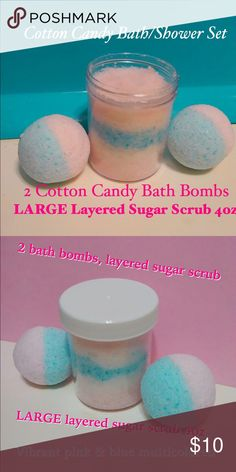 Cotton Candy Bath/Shower Set Cotton candy bath/shower set. Includes 2 cotton candy bath bombs 3 oz each , cotton candy layered sugar scrub 4oz. Made with special blend of skin nourishing oils to restore moisture and softness to dry skin. Sugary sweet cotton candy scent. Vibrant pink and blue multicolored. #bathbombs#bathtime #lush#pink#sugarscrub#handmade#shower#makeup#skincare Makeup