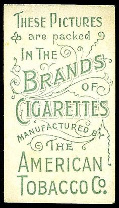 Cigarette Card Back - American Tobacco Co