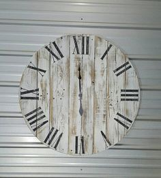 42 Reclaimed wood farmhouse-style wall clock by AveryStDesignCo