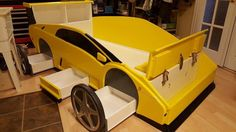 Creative Car Bed Designs That Every Kids Must See 05 Kids Car Bed, Kids Bunk Beds, Sharing Bed, Race Car Bed, Cool Beds For Kids, Bunk Bed With Desk, Bunk Bed Designs, Childrens Beds, Kids Room Design