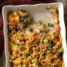 60 Cheap Dinner Ideas for Family Meals Under $10 | Taste of Home Beef Casserole Recipes, Ground Beef Casserole, Casserole Dishes, Easy Summer Dinners, Best Casseroles, Beef Dishes, Ground Beef Recipes, Family Meals, Family Recipes