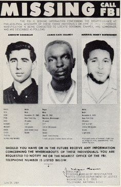 This day in News History: June 21, 1964: Three civil rights workers disappeared in Philadelphia, Miss. Their bodies were found buried in an earthen dam six weeks later.