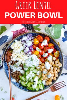 A Greek-inspired lentil salad with cucumbers, tomatoes, onions, chickpeas, feta cheese and yogurt dressing. High in protein and gluten-free lentils mealprep grainsalad healthylunch powerbowl 105764291235969461 Lentil Recipes, Veggie Recipes, Whole Food Recipes, Healthy Recipes, Oven Recipes, Veggie Food, Sauce Recipes, Dinner Recipes, Clean Eating Snacks