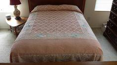 Vintage Chenille Bedspread Peach White Flower Design