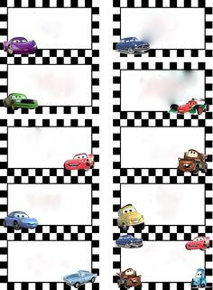Disney Cars Food labels                                                                                                                                                                                 Mais