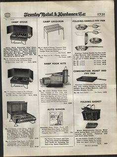 Vintage Camping Equipment See More 1924 AD Kampkook Camp Stoves Coleman Cooking Kits Automobile Car Picnic