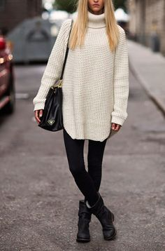 The Fashion Lift: Switching to Autumn/Winter - Some Outfit Inspiration Winter Leggings, Sweaters And Leggings, White Knit Sweater, Roll Neck Sweater, Black Sweaters, Legging Outfits, The Fashion Lift, Blusas Oversized, Fall Winter Outfits
