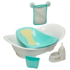 Bain modulaire Custom Care Safety First blanc avec un support bleu-vert, filet de rangement, distributeur de savon et tasse