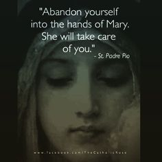 """""""Abandon yourself into the hands of Mary. She will take care of you."""" - St. Padre Pio:"""