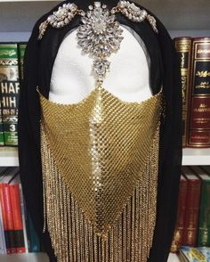 HEBA Gold Mesh Face Veil headchain headpiece by BoutiqueAlBadwi
