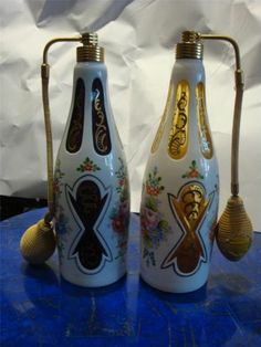 RARE Large c1900's PR Bohemian Amethyst Yellow Bohemian Moser Perfume Bottles   eBay