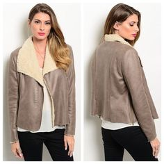 """Cruelty Free Shearling Jacket • Large Make a statement in this stunning shearling jacket!  Available in S, M, L Mocha brown faux suede exterior, interior has cream colored faux fur lining throughout. Sleeves have a ribbed fabric contrast that has stretch and ensures a comfortable, versatile fit Edgy zip detail on sides, asym front zipper. Medium weight Please note this item is intended to have a """"raw hem"""" finish.  Fits TTS but is intended to have room 85% Poly 15% Cotton ✅ Bundles are…"""