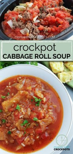 If you loved stuffed cabbage rolls, you will love this Crockpot Cabbage Roll Soup Recipe! A healthy, tasty dinner on a cool day!