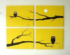 Owl Paintings, Yellow Black White, 18 x 24 (Set of 4), Modern Wall Art. $260.00, via Etsy.