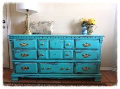 TURQUOISE Shabby Chic Dresser Buffet by TheVintageGoodyShop, $450.00