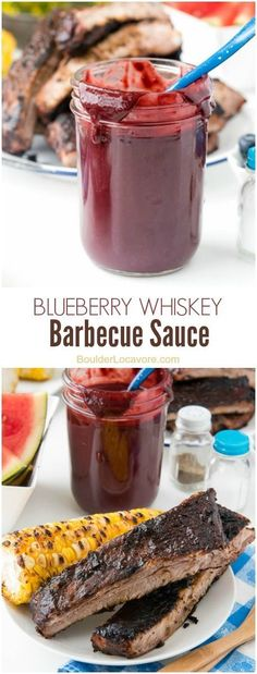 Homemade Blueberry Whiskey Barbecue Sauce recipe. Spicy, tangy, sweet, delicious! Great on everything, on and off the grill. BoulderLocavore.com @Nielsen-Massey Vanillas #ad