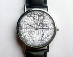 Vintage World Map Watch, Antique Map, Black and White, Ladies Watch, Unisex, Cartography, Old Map, Men's Watch, Analog, Gift Idea by 10northcreative on Etsy https://www.etsy.com/listing/231669123/vintage-world-map-watch-antique-map