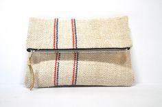 Foldover Clutch made from Vintage Grain Sack / Flax Linen Zipper Purse with stripes / Clutch bag / Linen Clutch purse by FrauLammli on Etsy