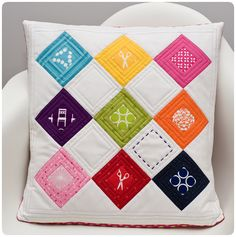 fun pillow - make gift personal using the coloured squares to reflect receiver.