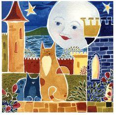 Cat & Moon Watercolor Art Print Castle Guard