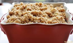 warm cherry crisp-I would substitute the cherry for some other fruit though.