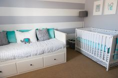 Gray and White Striped Accent Wall for the Nursery