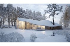 """""""House of Winter"""": Just recently announced (September 2015), this spectacular winter home is by the notable Ukrainian designer Sergey Makhno. No word yet how the designer intends to heat the space with the high celings and glass curtain walls, but the design is beautiful! No information is available yet as to location, although it may be Zima, Russia."""