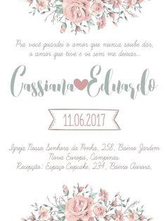 Convite de casamento floral para imprimir. Personalize sua arte.