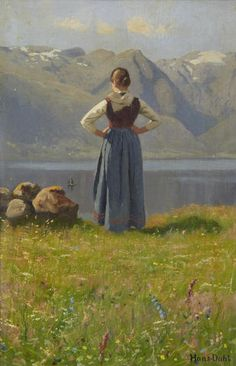 Hans Dahl (Norwegian, 1849-1937) Girl before a fjord. signed 'Hans-Dahl' (lower right) (41.5 x 26.5cm)