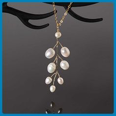 14k Gold Filled White Pearl Leaf Pendant Necklace Handmade Nature Inspired Jewelry - Wedding nacklaces (*Amazon Partner-Link)