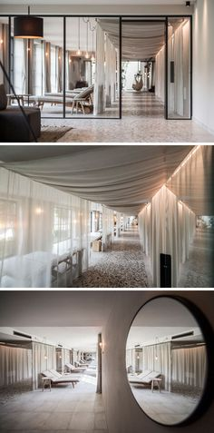 This modern hotel in Italy has a spa area with a glass enclosed relaxation room with soft curtains and plenty of lounge chairs lined up to look out the windows. #ModernHotel #HotelDesign #InteriorDesign