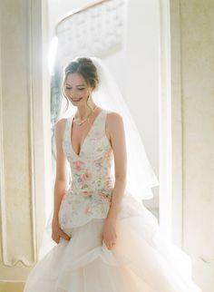 Bride wearing Lazaro's wedding dress Lazaro Wedding Dress, Wedding Gowns, Floral Gown, Italy Wedding, Destination Wedding, Brides, How To Wear, Clothes, Beautiful