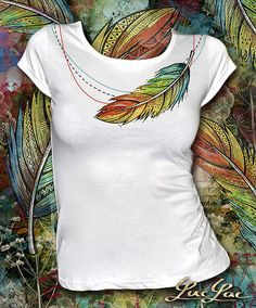 Indian Summer - skladom M Fabric Paint Shirt, Paint Shirts, T Shirt Painting, Fabric Painting, Fabric Art, Sewing Clothes, Diy Clothes, Umgestaltete Shirts, Fabric Paint Designs