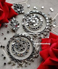 Indian Bridal Jewelry Sets, Indian Jewelry Earrings, Silver Jewellery Indian, Jewelry Design Earrings, Boho Jewelry, Silver Jewelry, Silver Earrings, Jewelery, India Jewelry