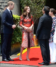 fromberkshiretobuckingham:  Royal Tour 2016-Mumbai, India, April 10, 2016-The Duke and Duchess of Cambridge; the Duchess wore a customized Alexander McQueen Pre-fall 2016 dress with 3/4 length sleeves, peplum, and split skirt with black panel underneath; she accessorized with her Cassandra Goad Temple of Heaven earrings, new LK Bennett Fern Pumps in 'trench leather' and new Russell & Bromley 'Curvy' clutch bag